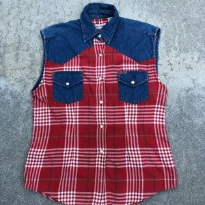 Miss Buffalo VTG 90 Flannel Denim Button Down Vest